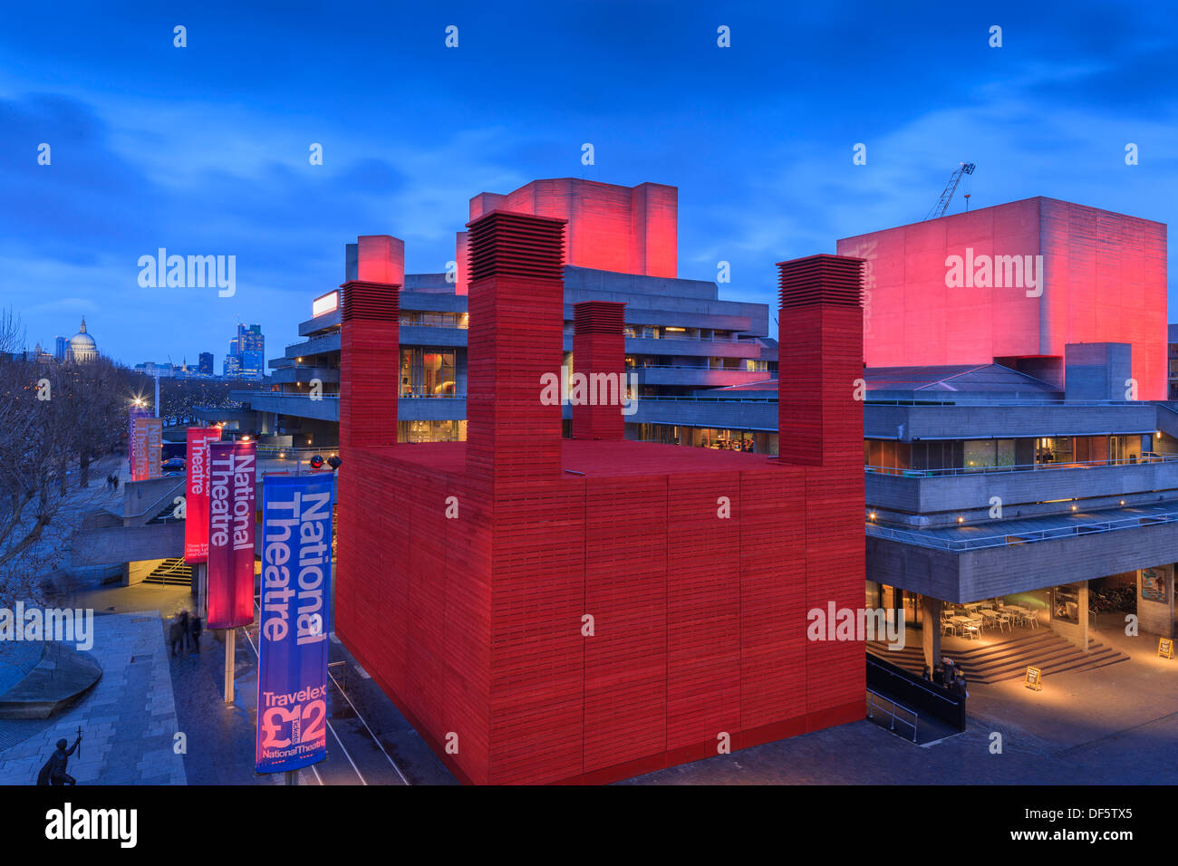 National Theatre South Bank London England in evening light - Stock Image