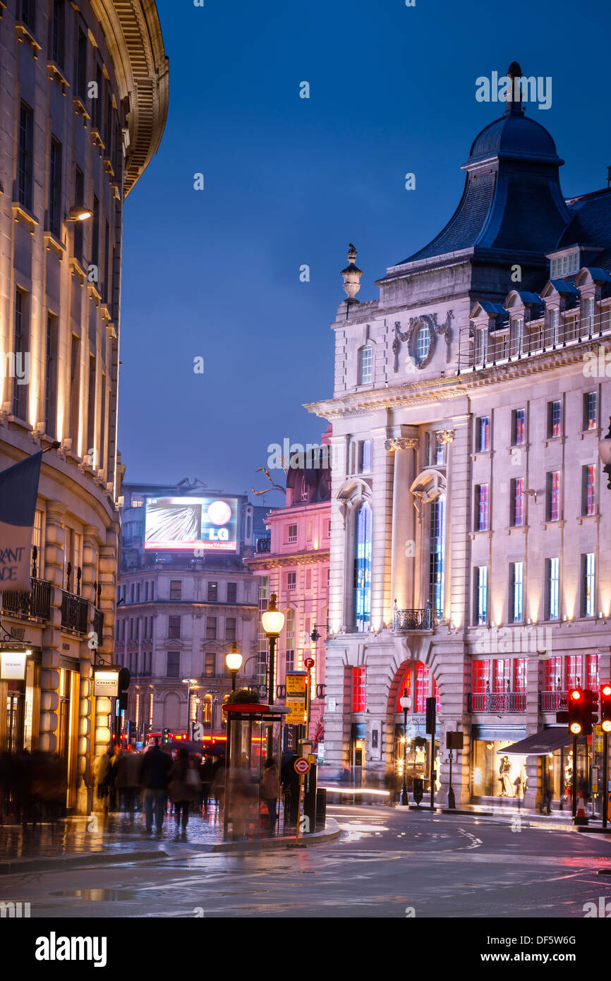 Regent Street to Piccadilly Circus London England at twilight - Stock Image