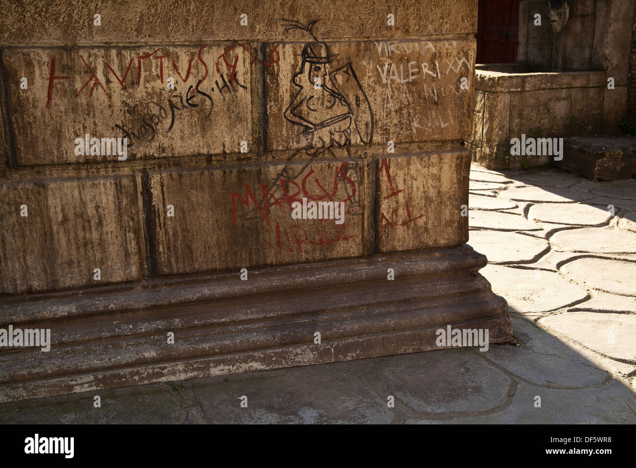 Recreation of ancient roman graffiti is seen on a set at cinecitta film studios in rome italy