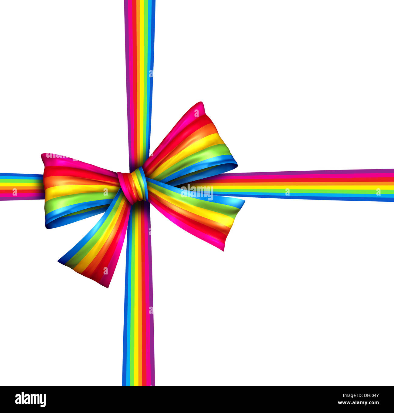 Rainbow gift ribbon bow as a silk present with [wrapping tape of