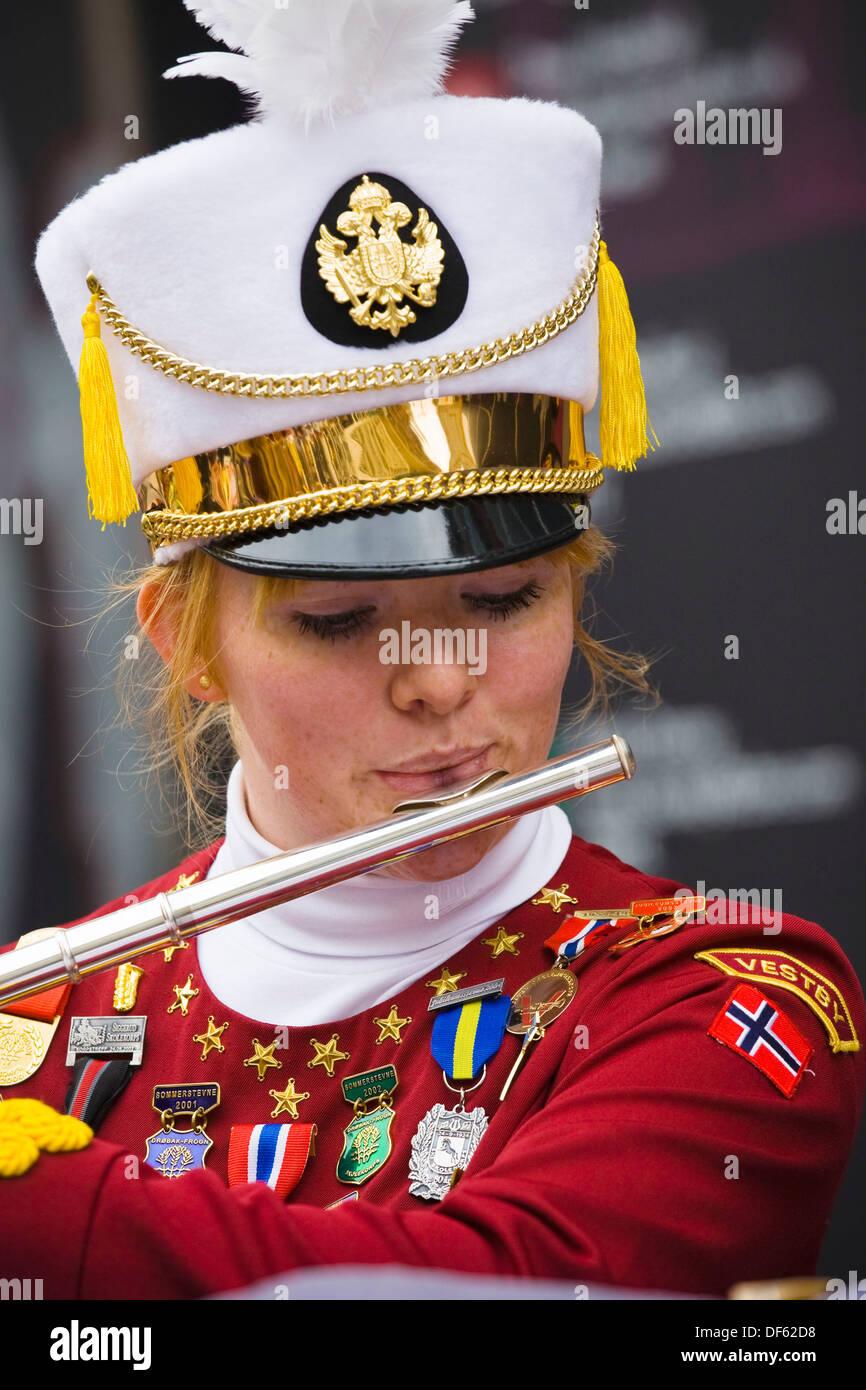 Junior member of the Norwegian silver band ´Vestby Skolemusikkorps´ playing an outdoor concert in Buchanan Street, Glasgow, - Stock Image