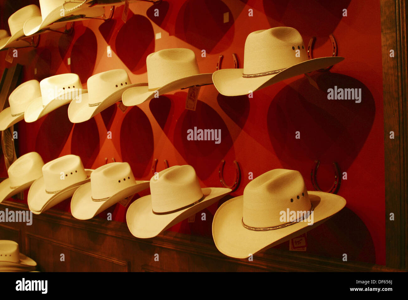 cf7317f7 Display of straw Stetson cowboy hats in a Western store in Dallas, Texas