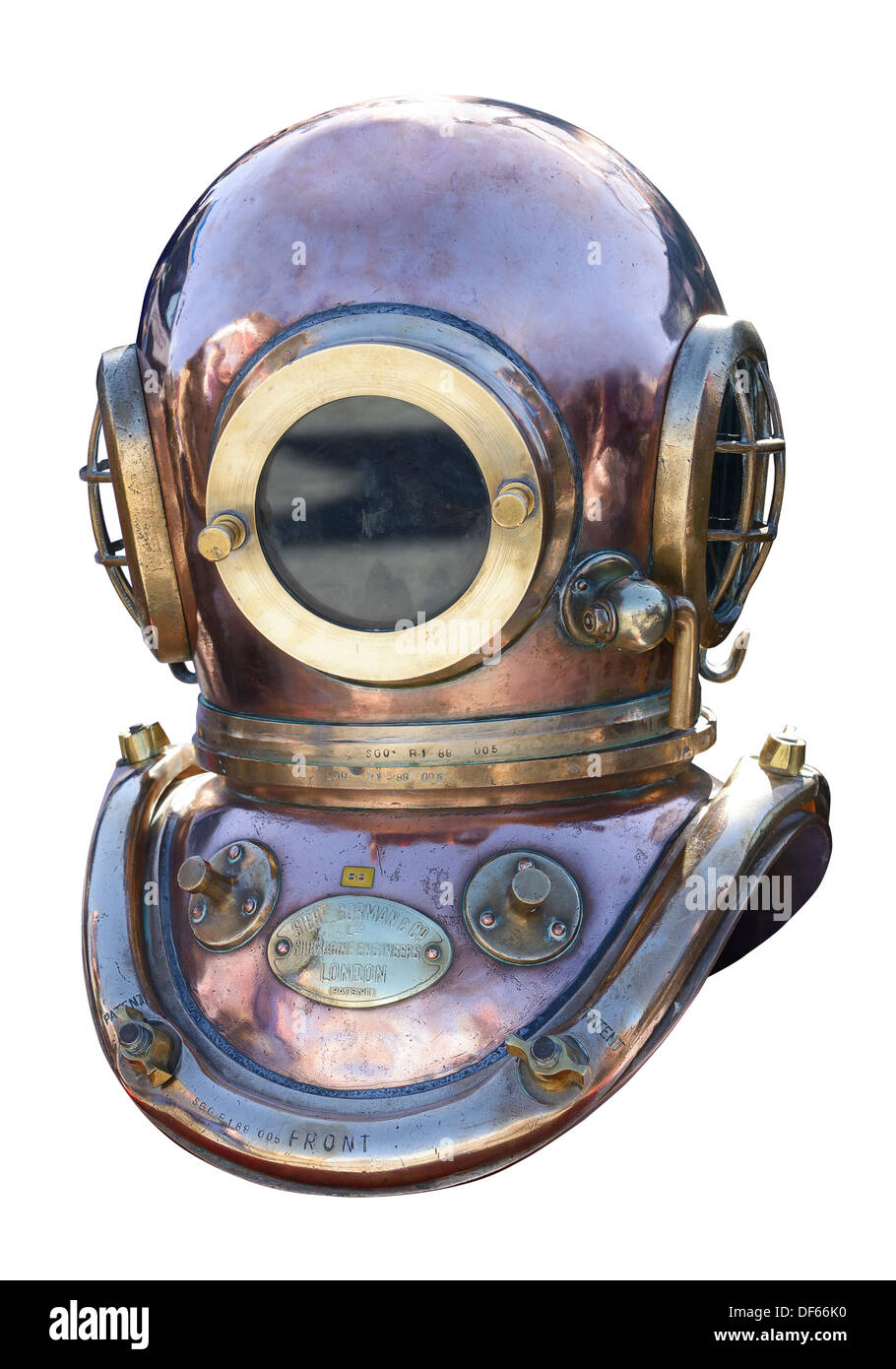 Vintage retro brass deep sea diving helmet - Stock Image