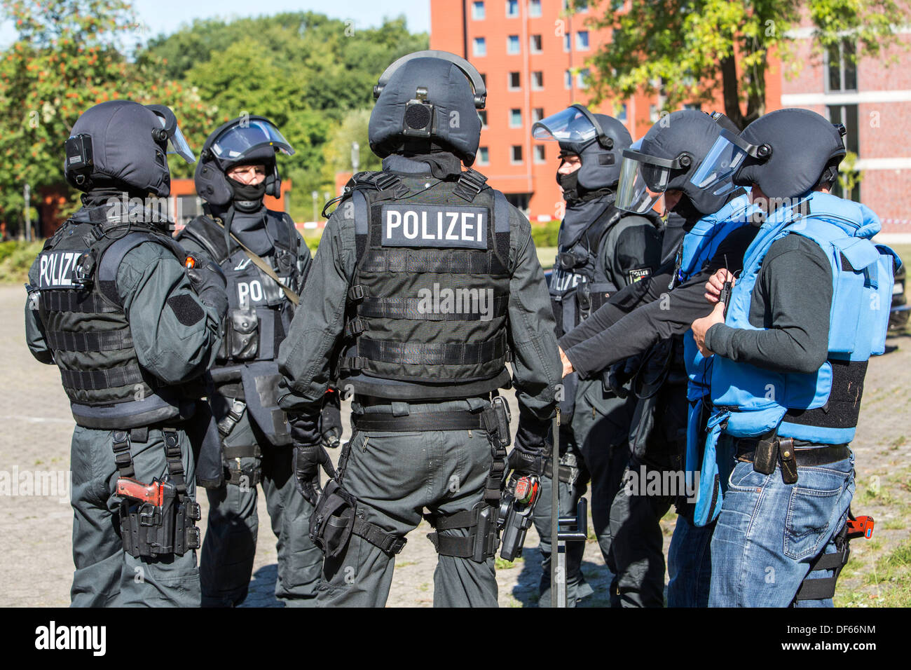 Police SWAT team exercise, rescuing of hostages. Special police forces. Hostage rescue team. Stock Photo