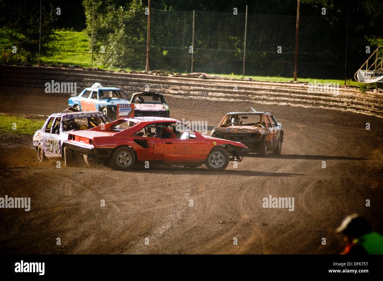 Ferrari banger racing car being raced on track car crash crashing ...