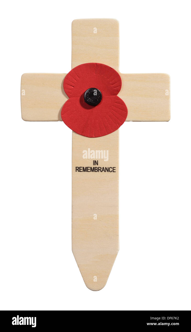 Wooden cross and red poppy in remembrance - Stock Image