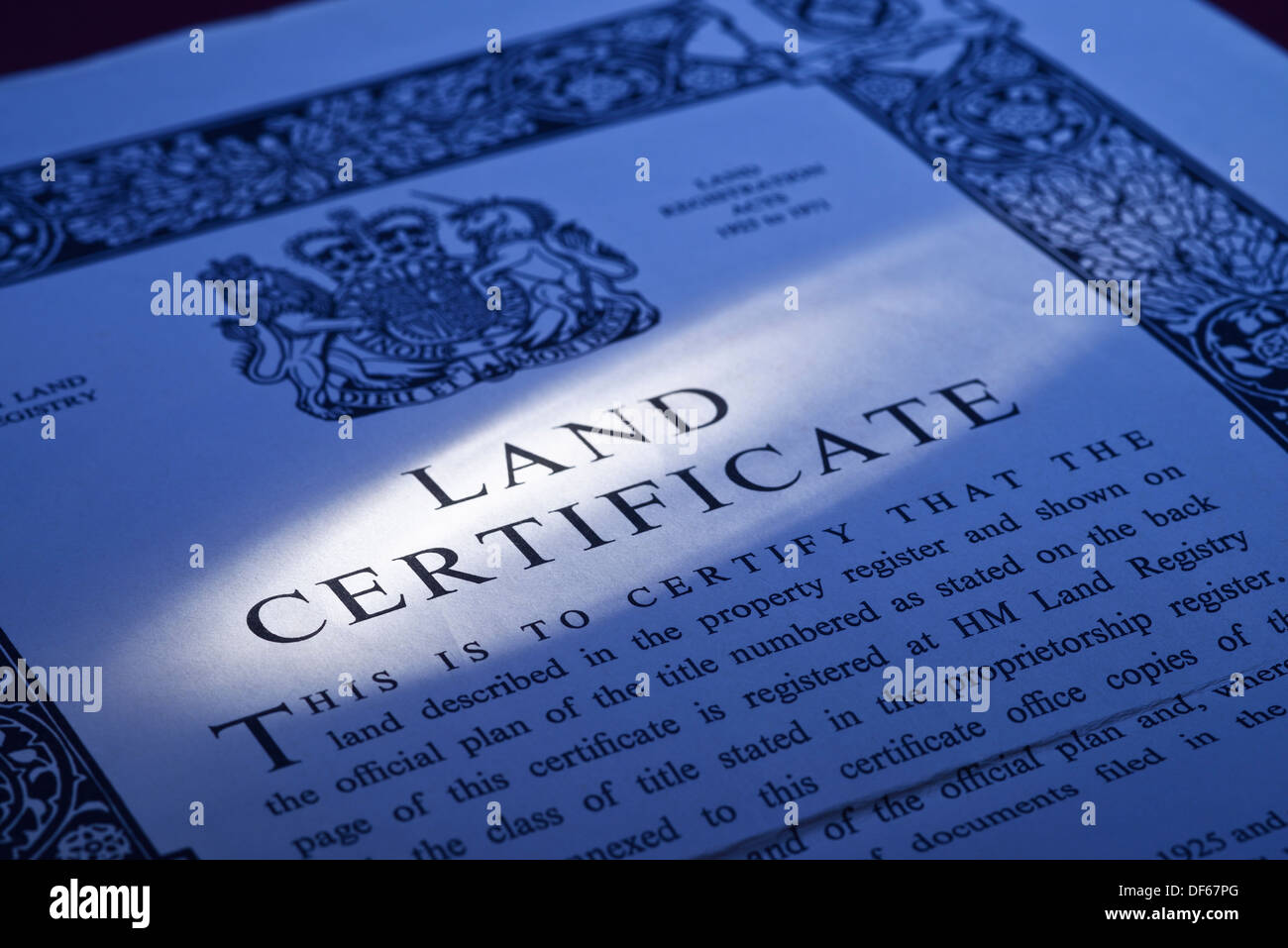 UK Land Registry Land Certificate property document - Stock Image