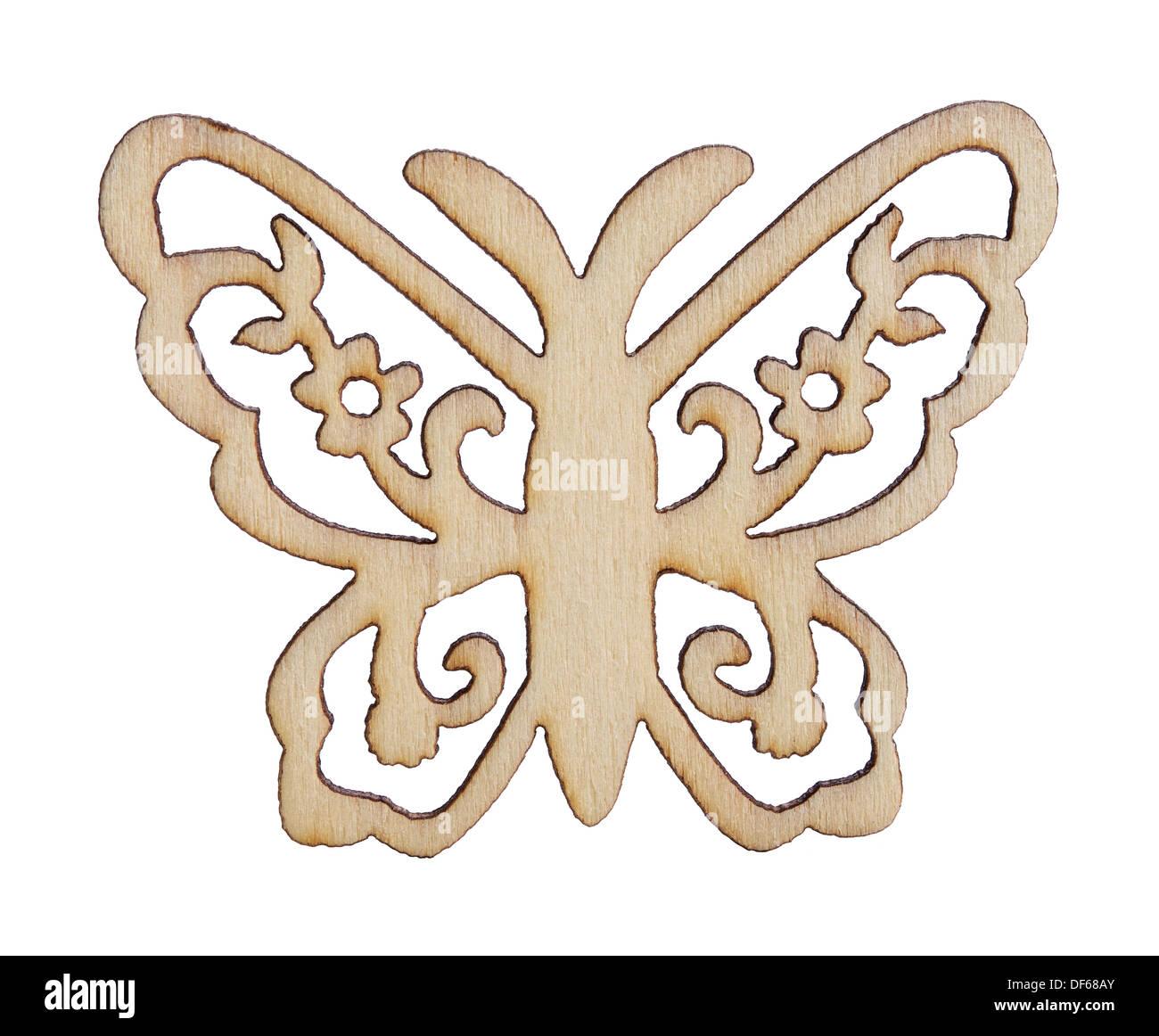 Laser cut wooden butterfly shape - Stock Image