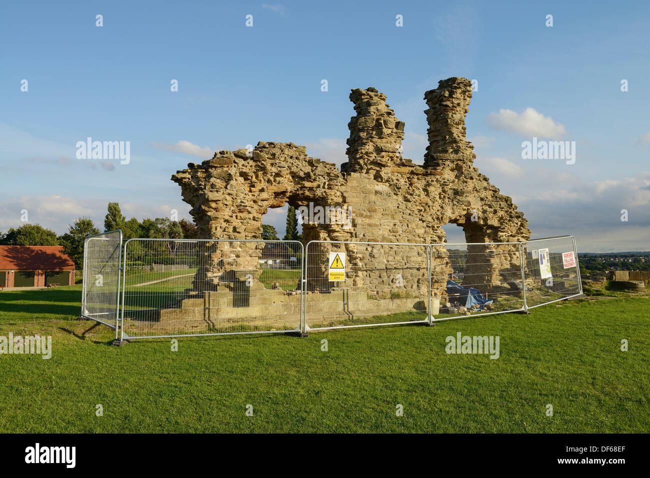 Ruins and repair work at Sandal Castle Wakefield UK - Stock Image
