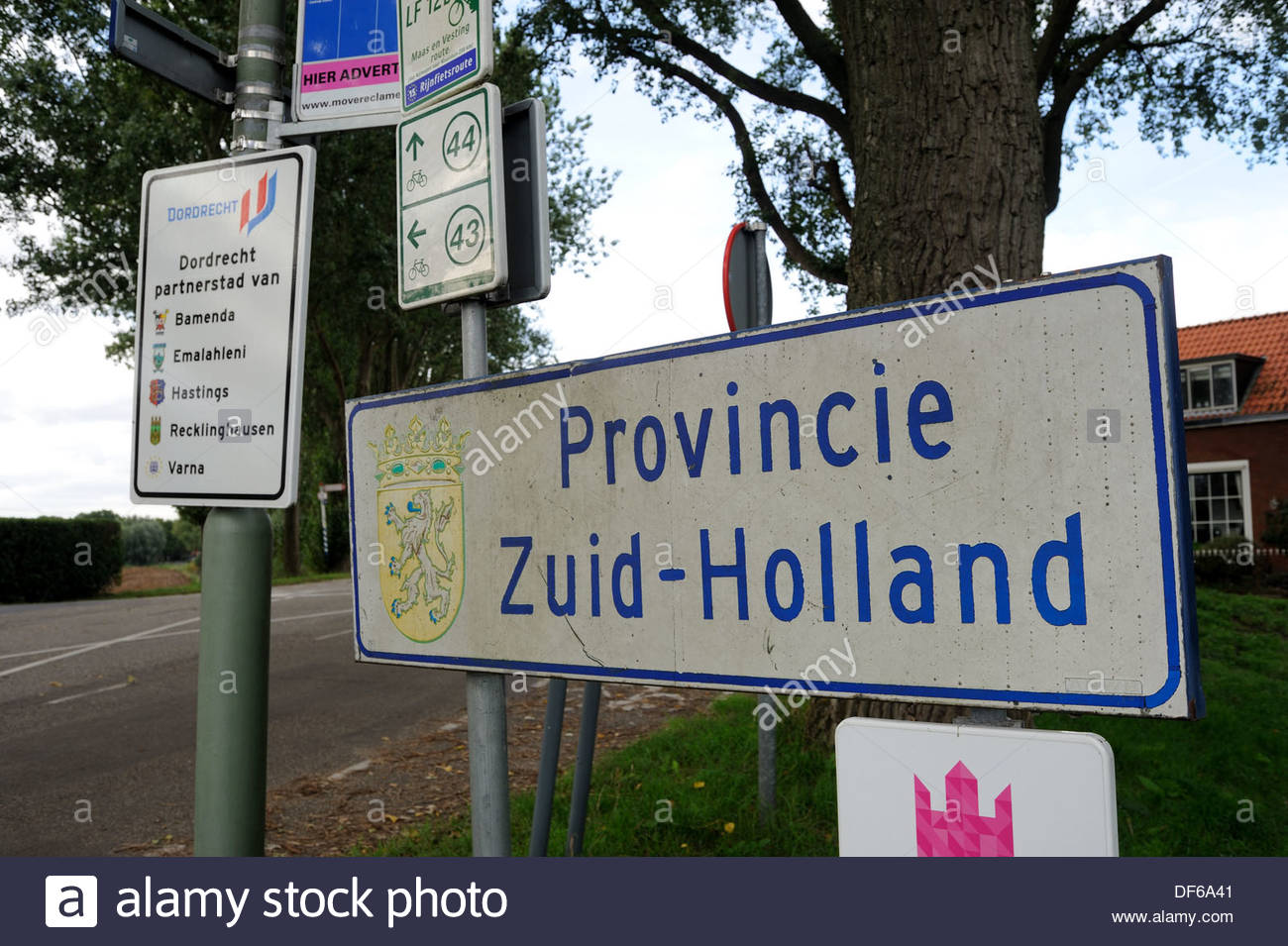 Kop van 't Land The Netherlands. Sign showing Provinice Zuid Holland. - Stock Image