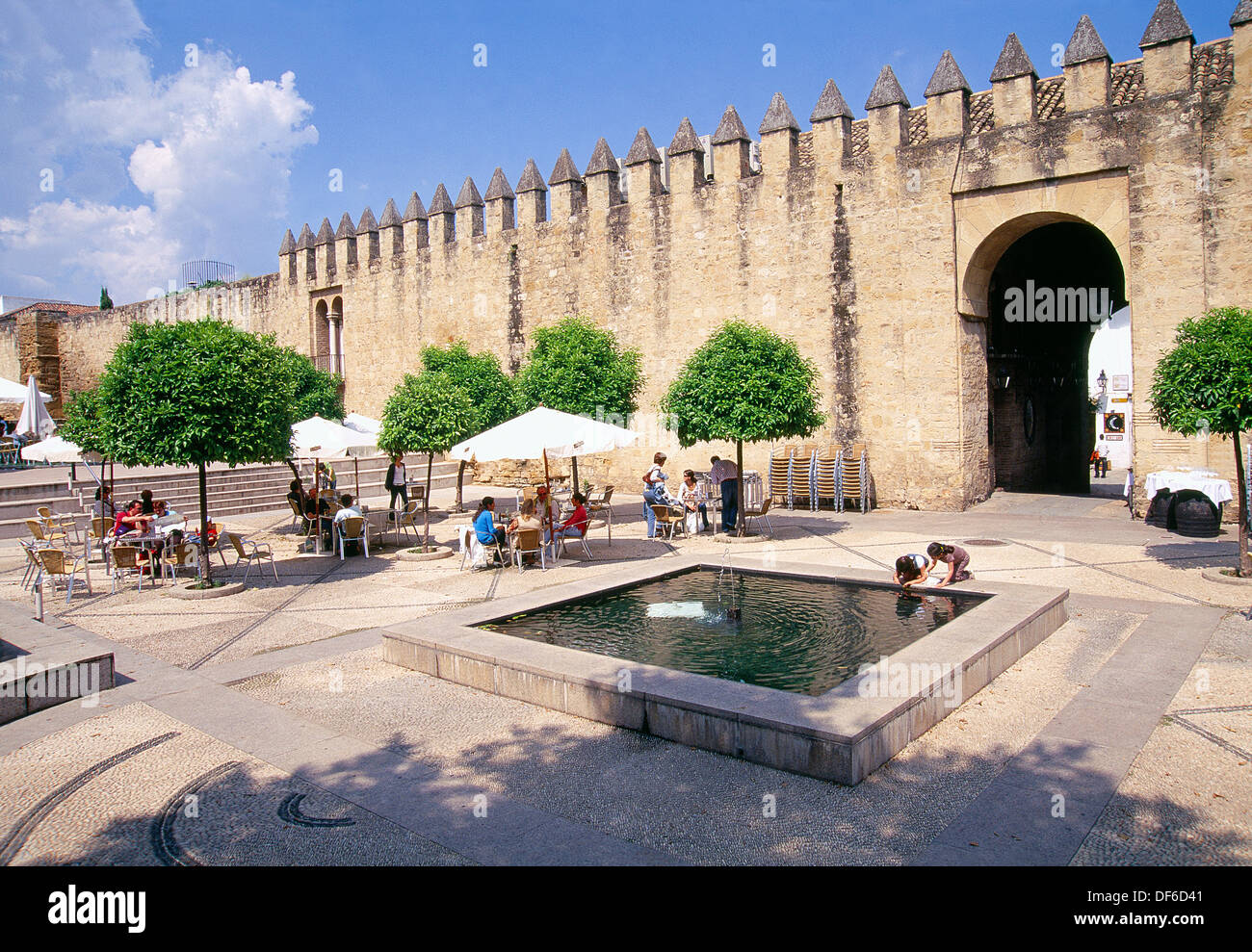 Terrace nearby the city wall. Cordoba, Andalucia, Spain. - Stock Image