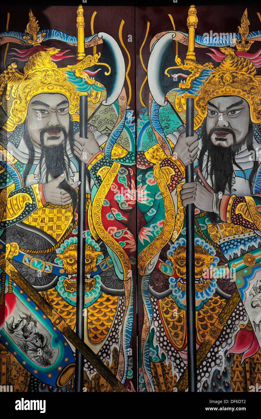 Guardians painted on Thian Hock Keng temple's door, Singapore - Stock Image
