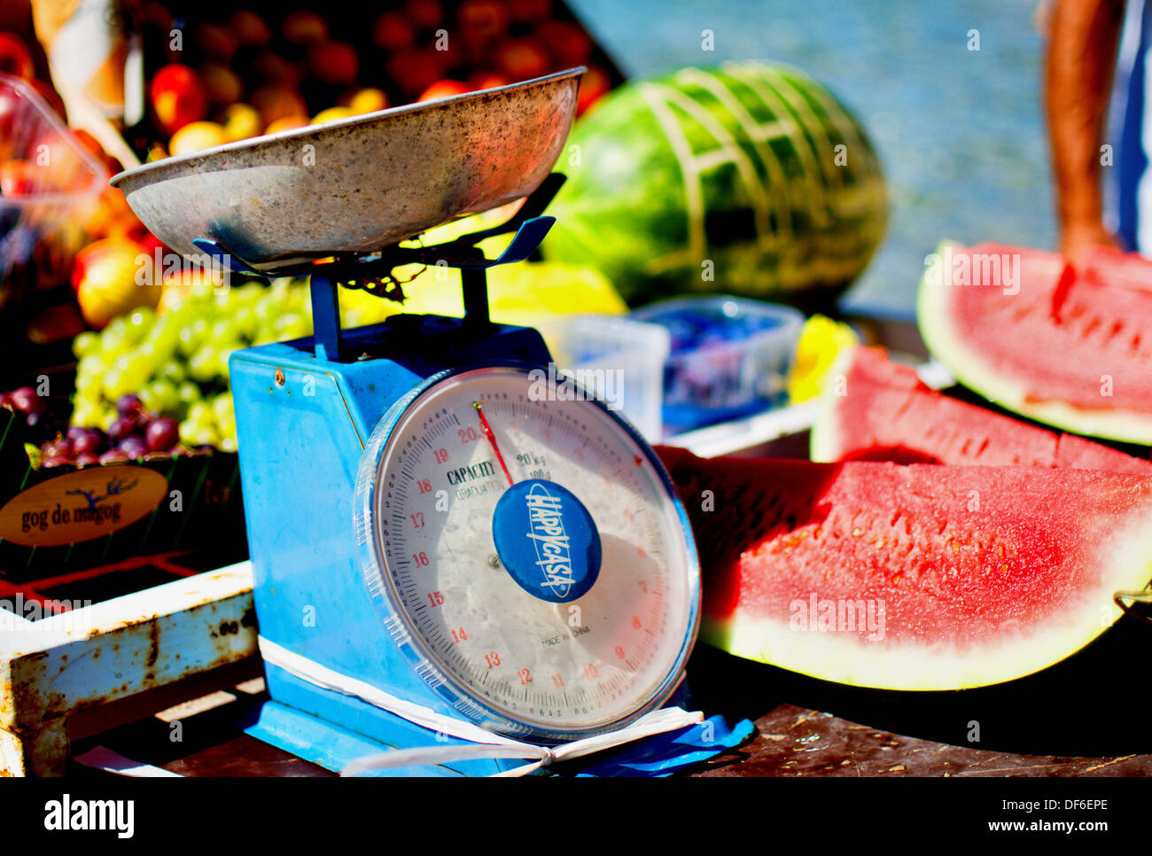Greengrocery on the boat - Stock Image