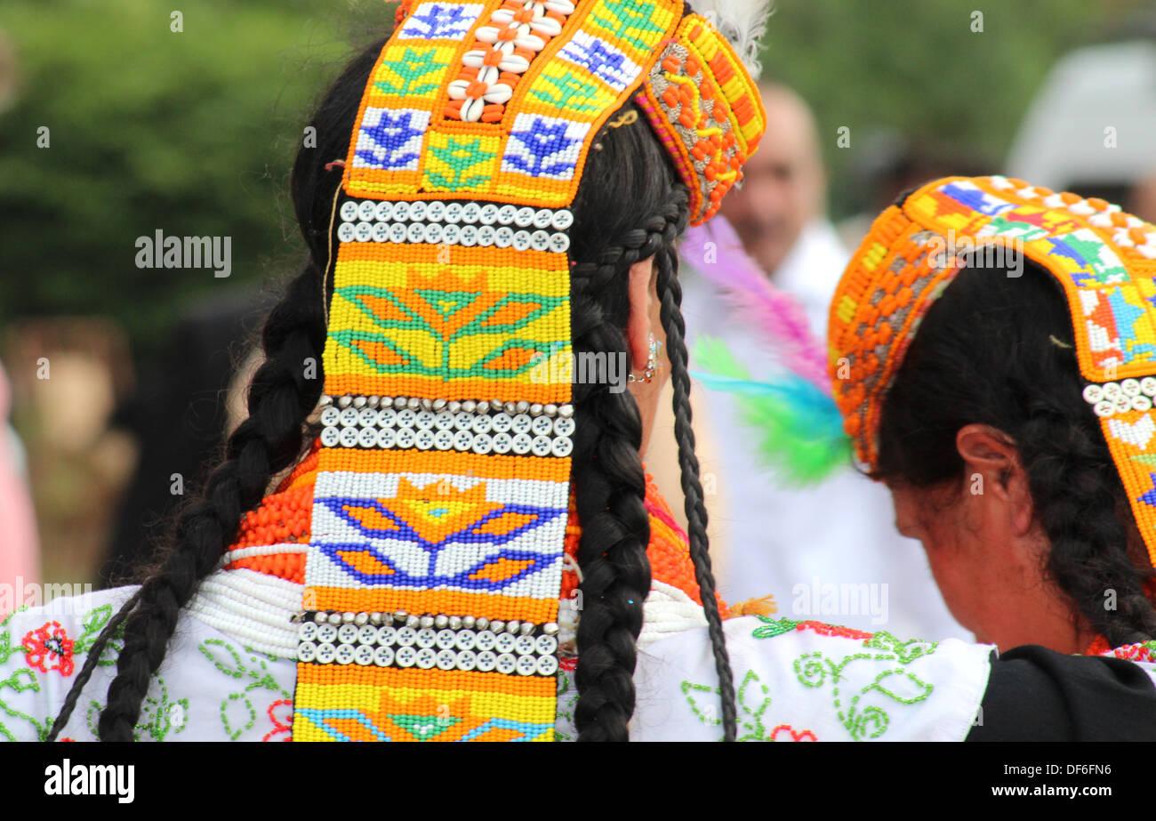 KARACHI, PAKISTAN--SEP 28: Kalash women from Chitral Pakistan perform a dance at the Expo Pakistan in Karachi, Pakistan. - Stock Image