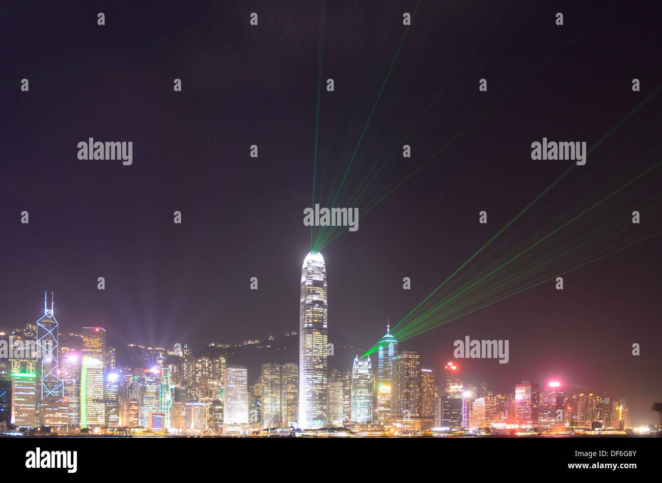 hongkong,china,lights,night,city, - Stock Image