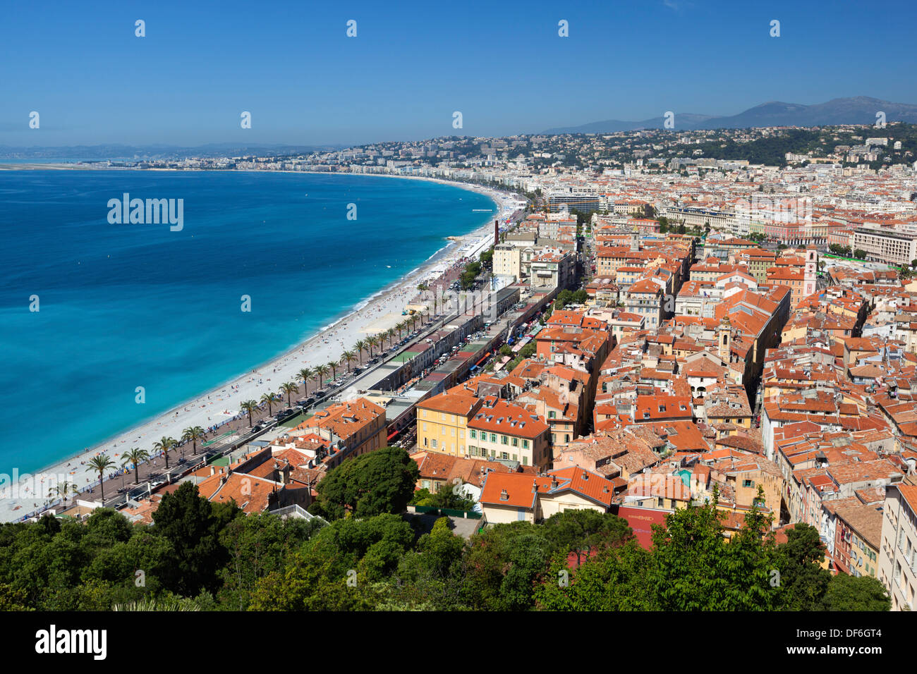 View over bay and Promenade des Anglais from the parc du chateau, Nice, Provence-Alpes-Cote d'Azur, France, Europe Stock Photo