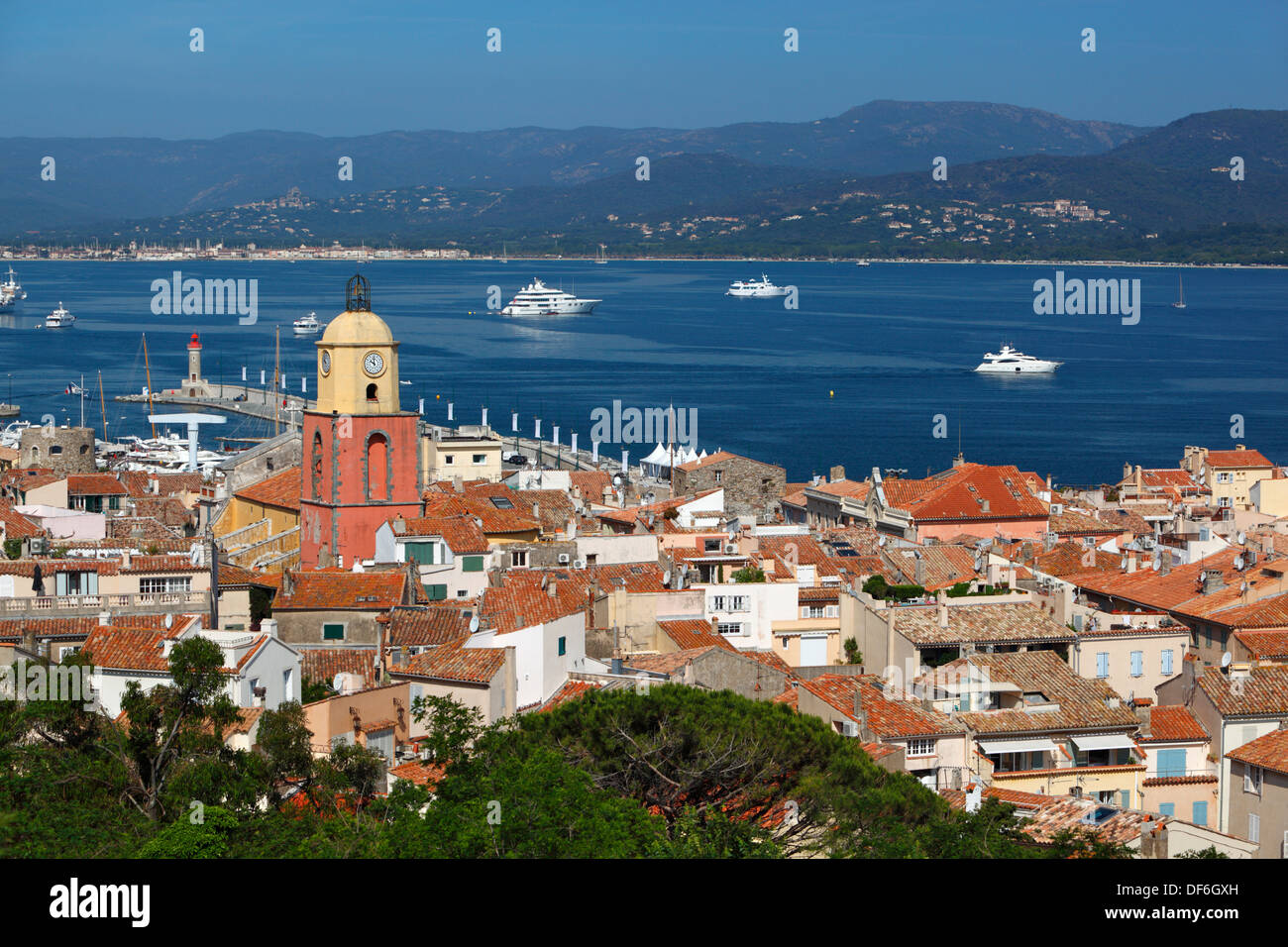 View over old town, Saint-Tropez, Var, Provence-Alpes-Cote d'Azur, France, Europe Stock Photo