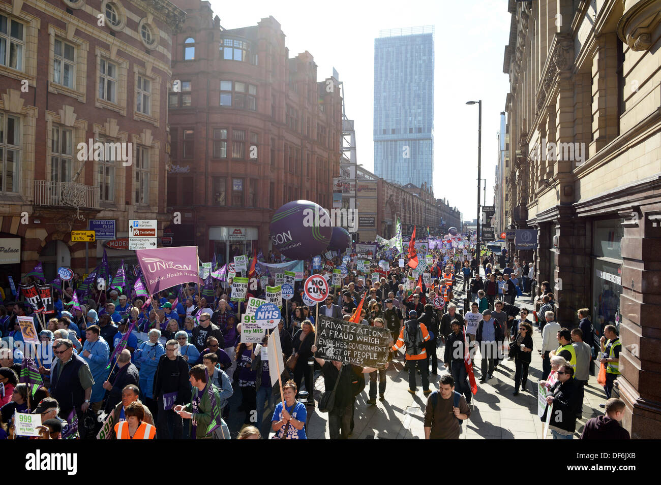 Manchester, UK. 29th Sept 2013. A view of Deansgate during a North West TUC organised march and rally intending - Stock Image