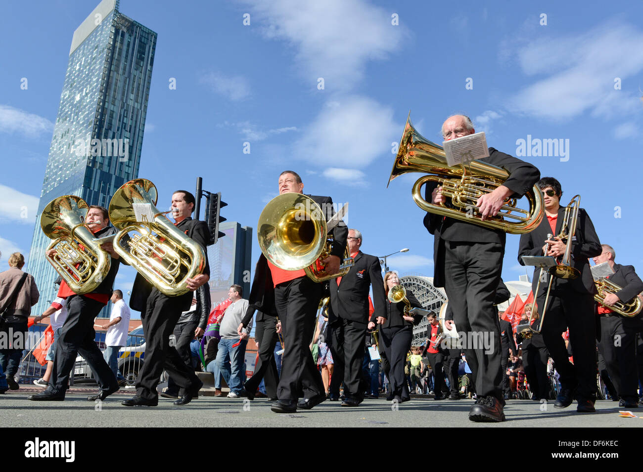 Manchester, UK. 29th Sept 2013. A brass band play during a North West TUC organised march and rally intending to - Stock Image