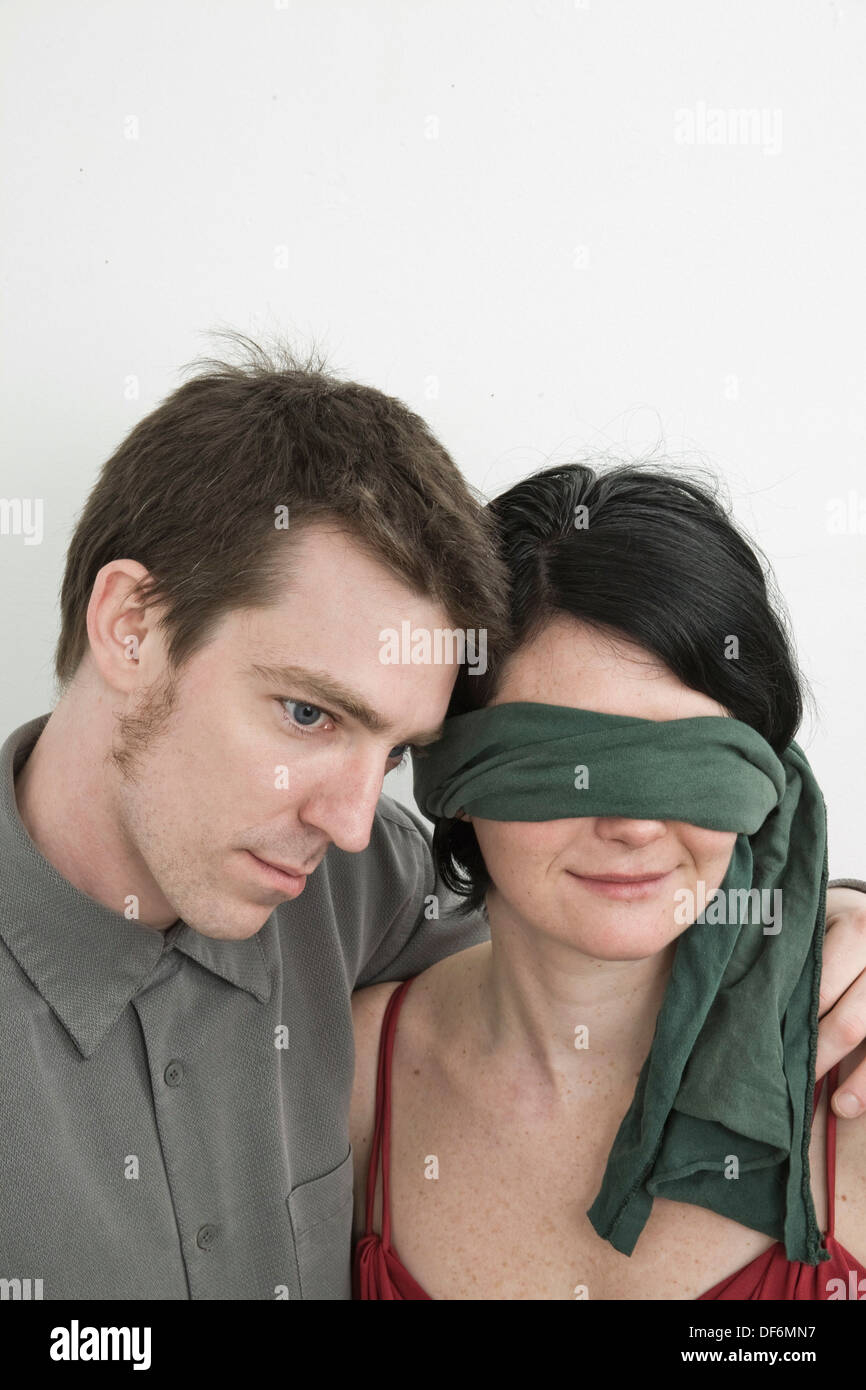 Husband And His Blindfolded Wife Stock Photo 60998931 Alamy