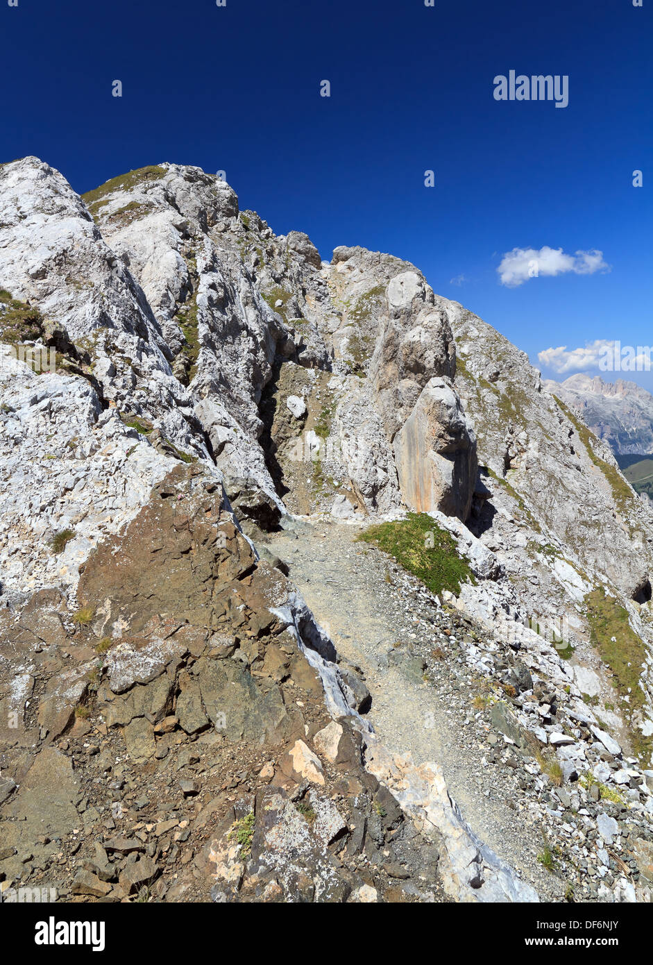 path in mountain ridge in San Pellegrino valley, Trentino, Italy Stock Photo