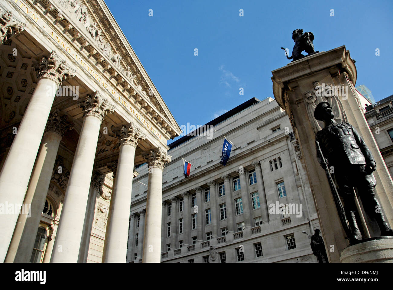 First World War monument in front of the Royal Exchange luxury shopping centre in The City, London, Great Britain, Europe. - Stock Image