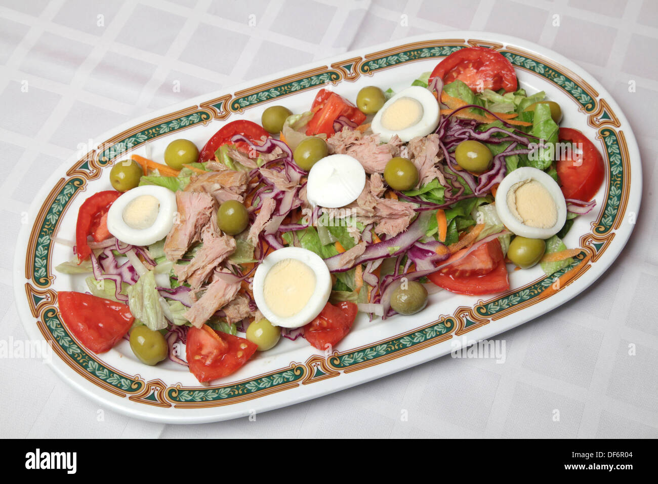 tomato tuna salad eggs fish food fresh gastronomy diet disk health olive mediterranean food culture typical - Stock Image