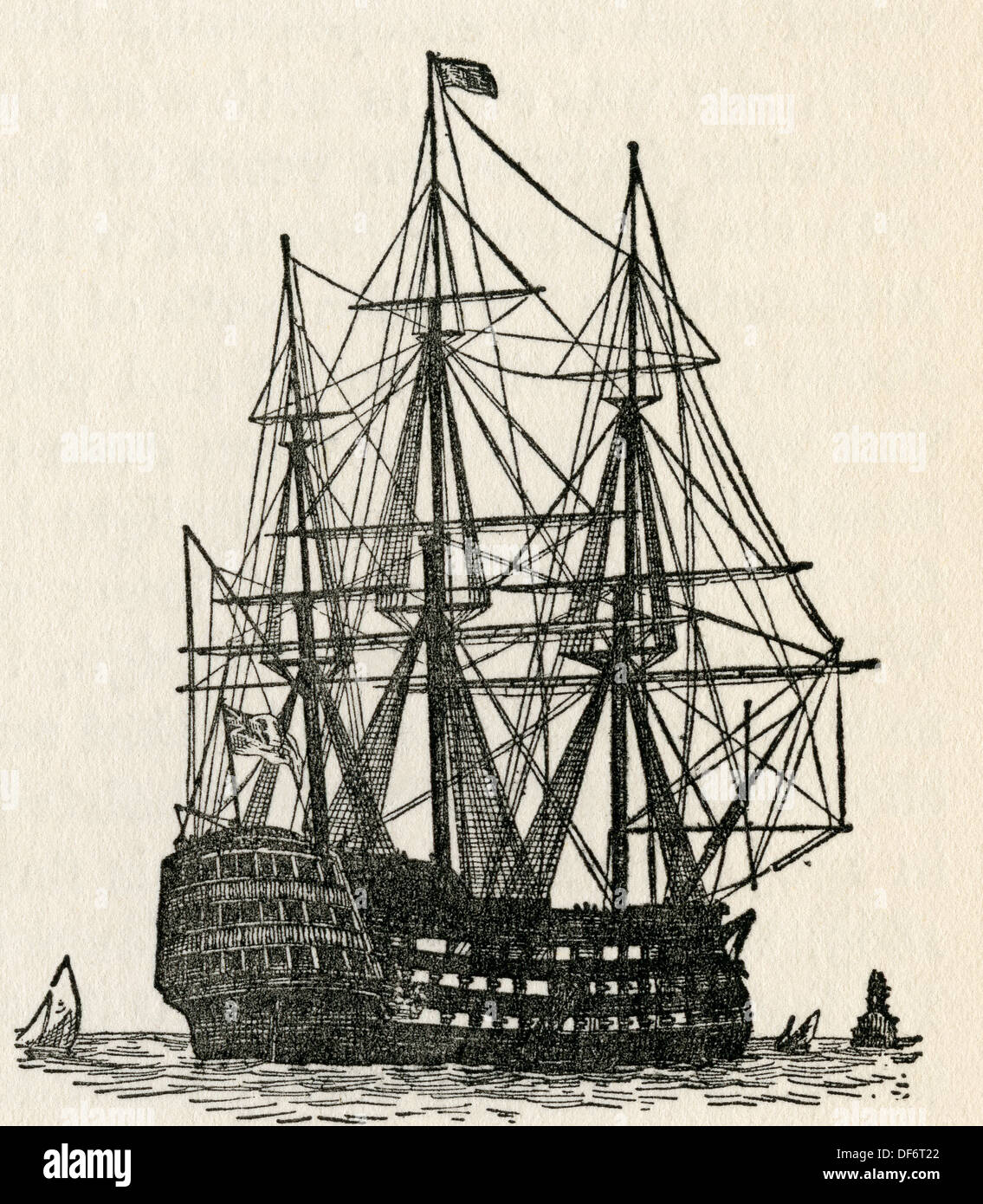 HMS Victory, Lord Nelson's flagship at the Battle of Trafalgar in 1805. From The Romance of the Merchant Ship, published Stock Photo