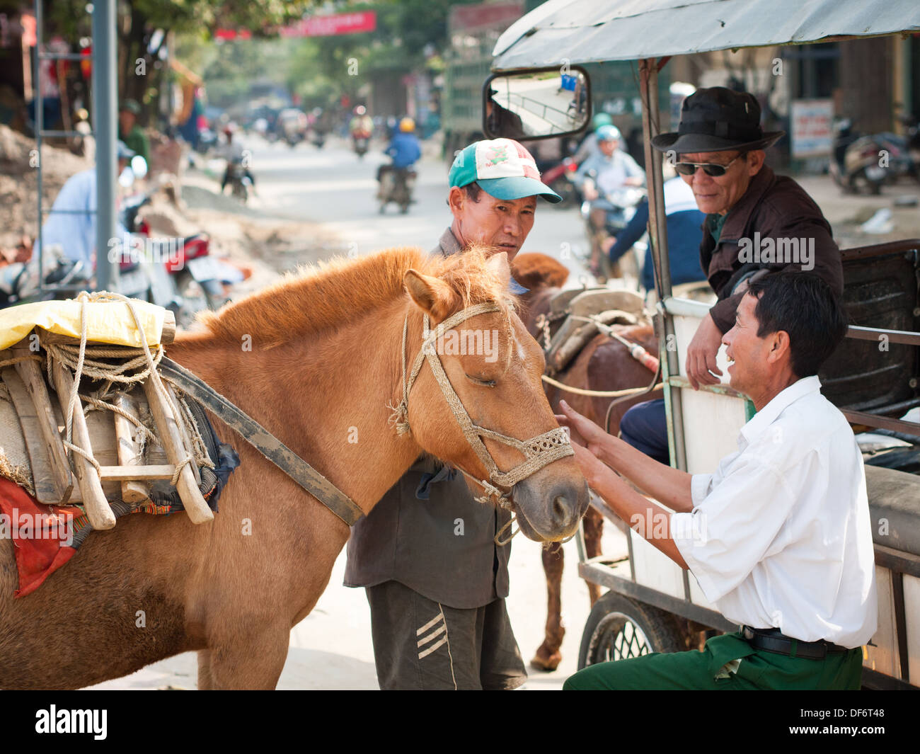 Hmong men and a packhorse on the streets of Bac Ha, Lao Cai, Vietnam. - Stock Image