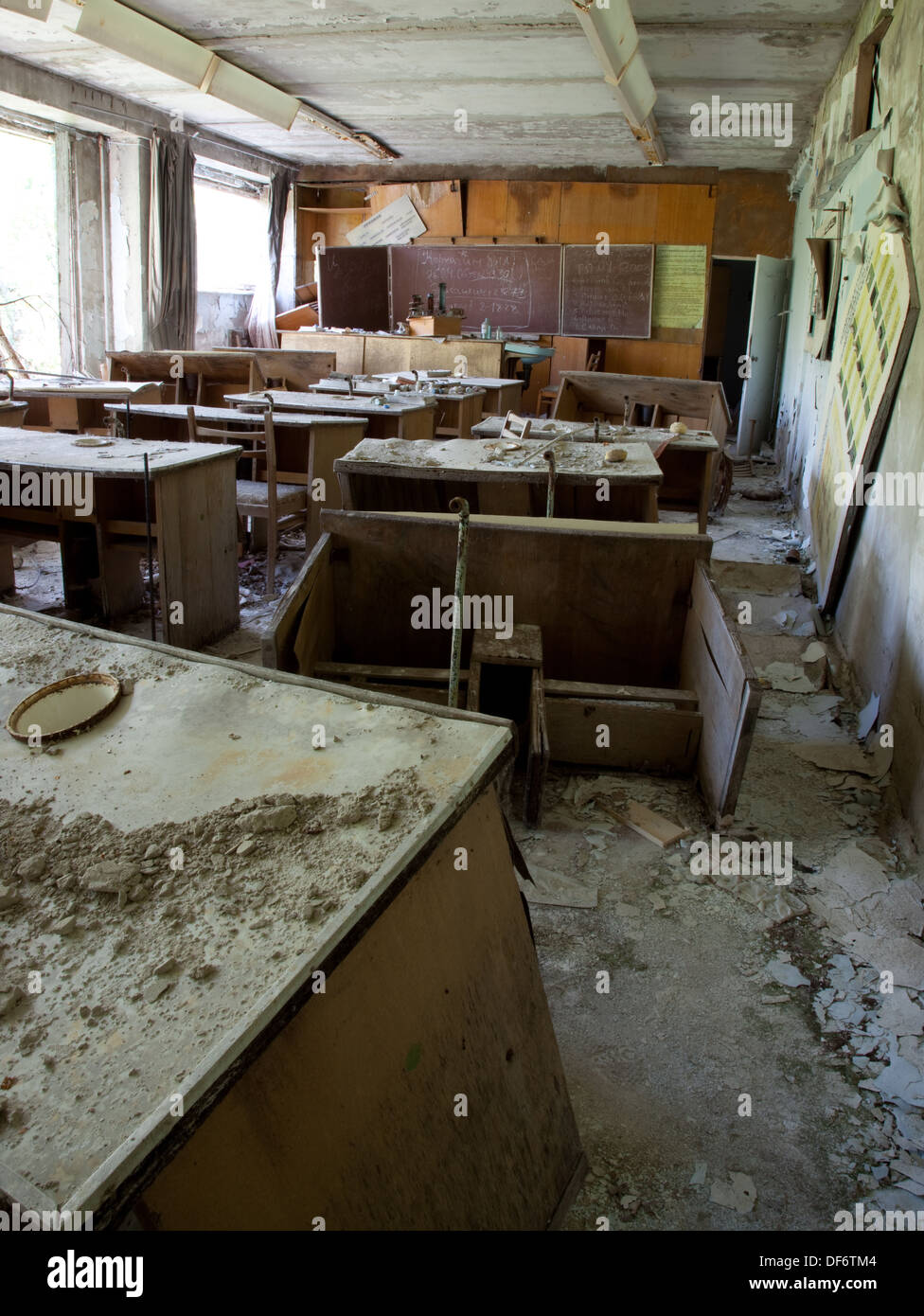 Abandoned classroom in the ghost town of Pripyat, Ukraine - Stock Image