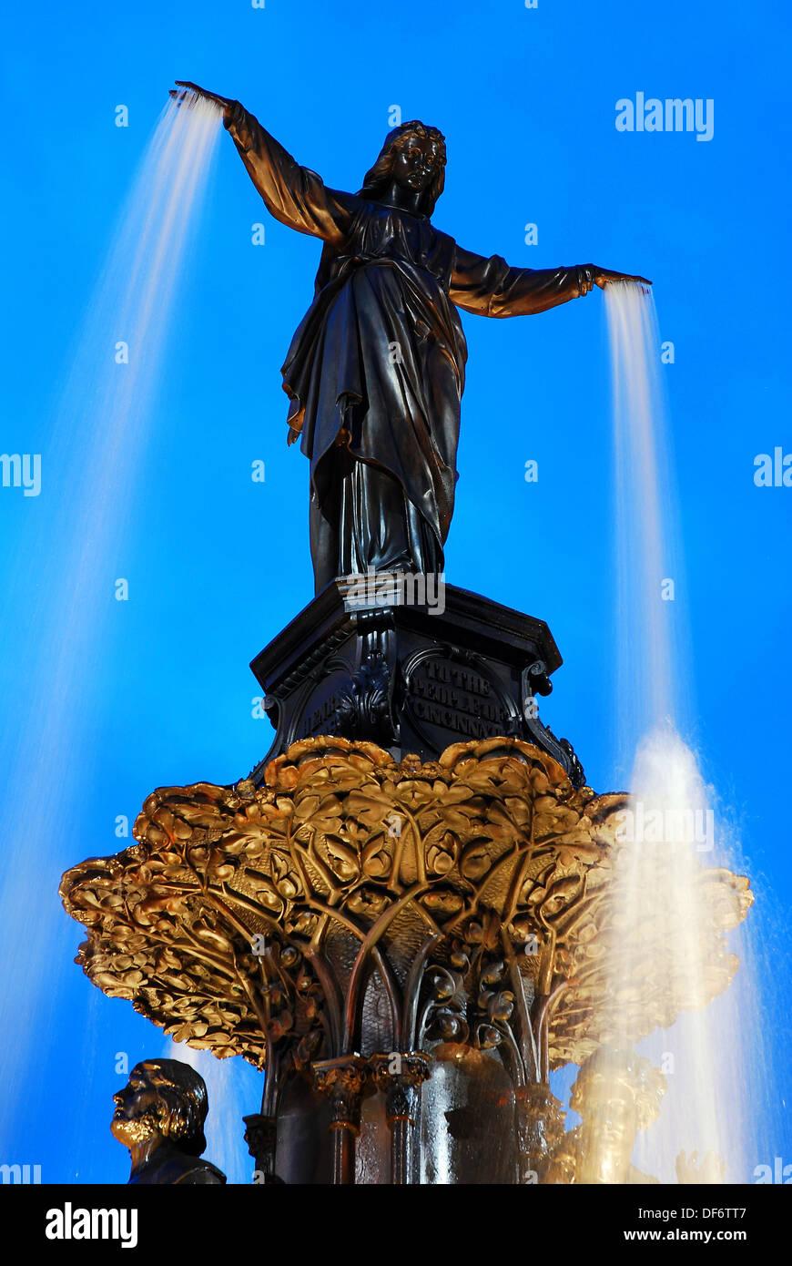 The Tyler Davidson Fountain in Fountain Square in Cincinnati, Ohio Stock Photo