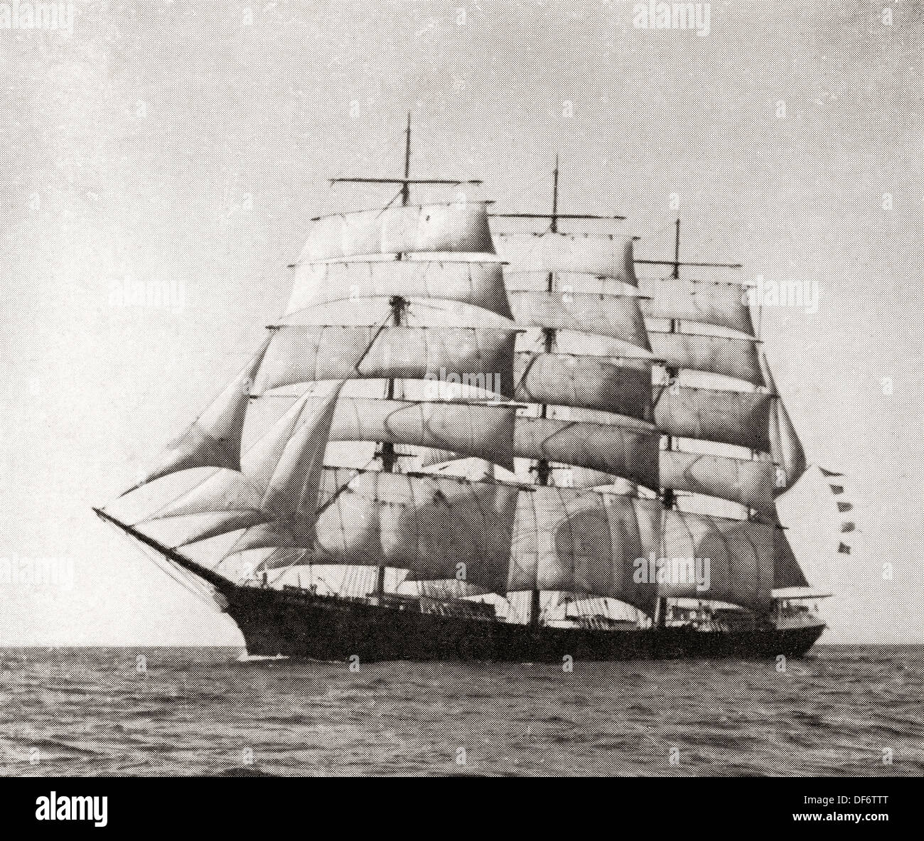 The American barque Golden Gate. From The Romance of the Merchant Ship, published 1931. - Stock Image