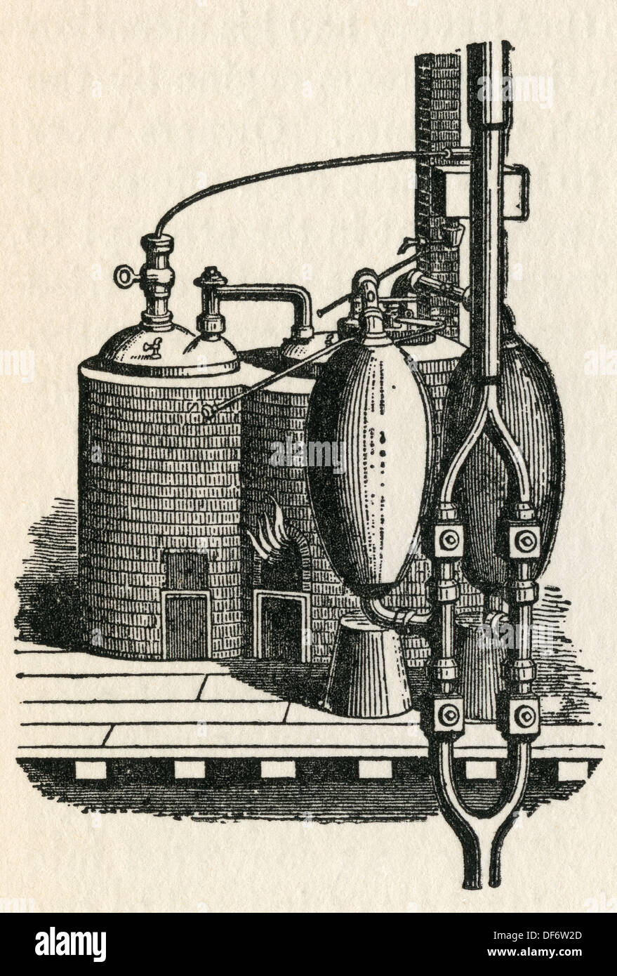 The 1698 steam engine invented by Thomas Savery. From The Romance of the  Merchant Ship, published 1931.
