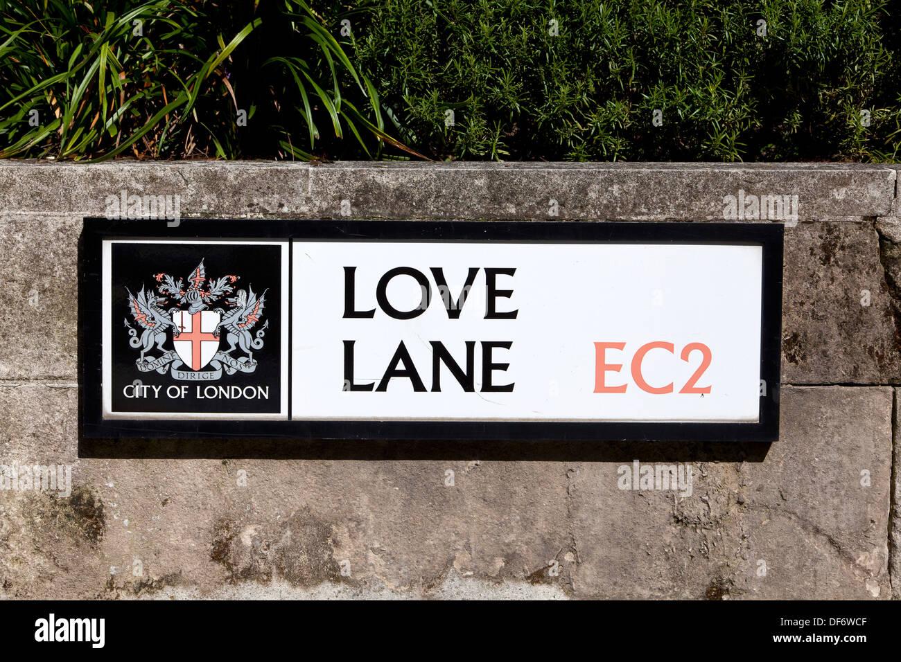 Love Lane road sign, City of London, England, UK. - Stock Image