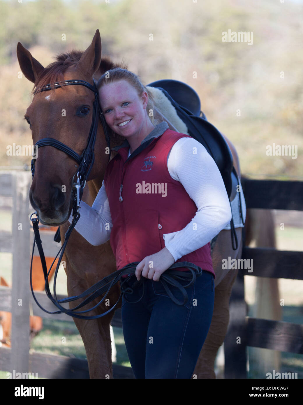 Woman with dressage horse - Stock Image