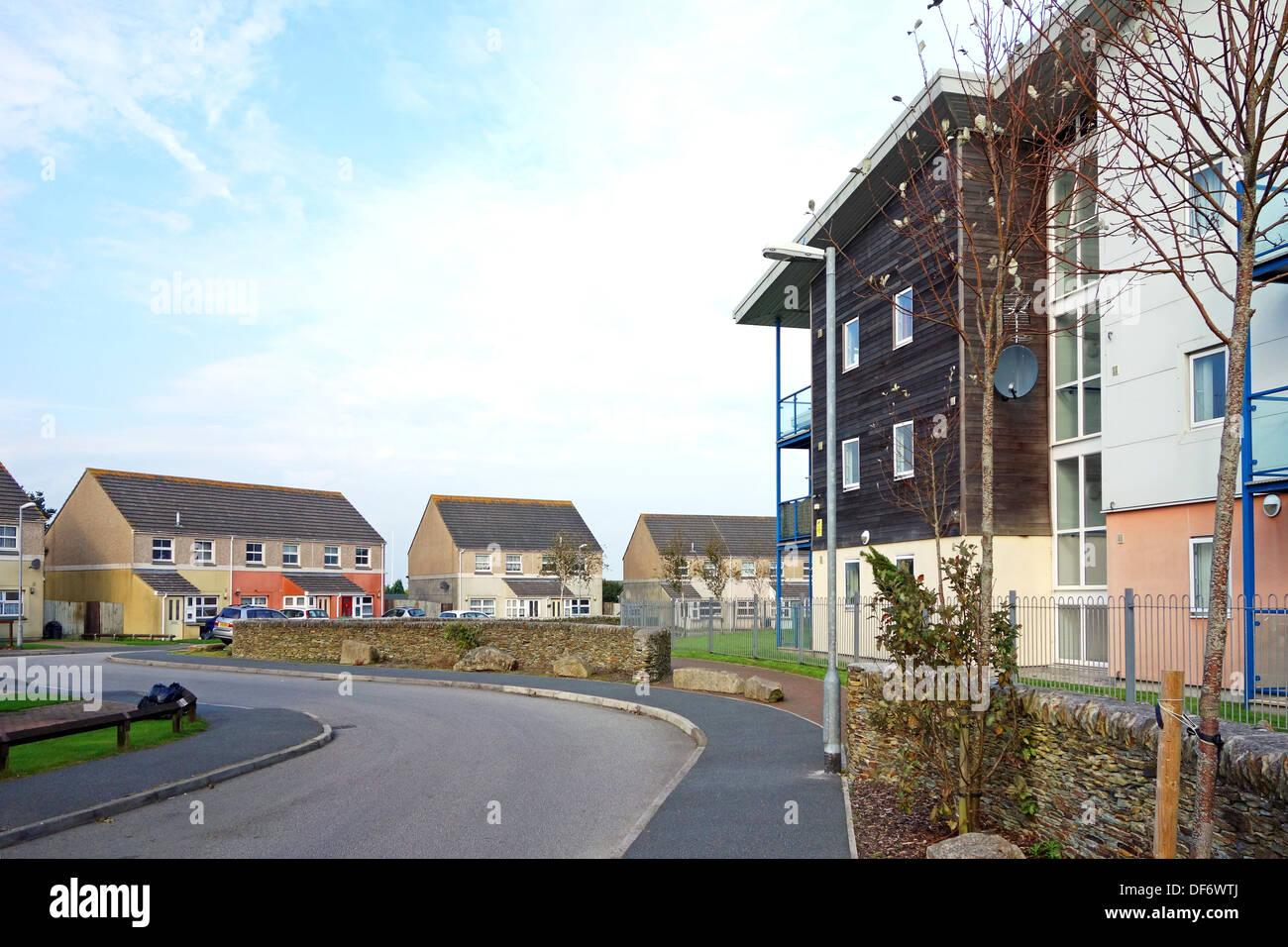 Social housing in Camborne, Cornwall, UK - Stock Image