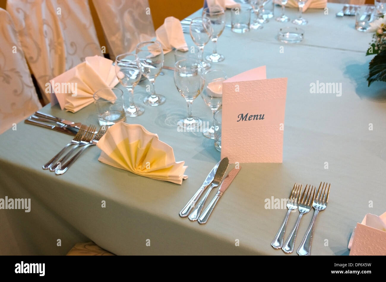 a menu and table setup in a restaurant stock photo 61003205 alamy