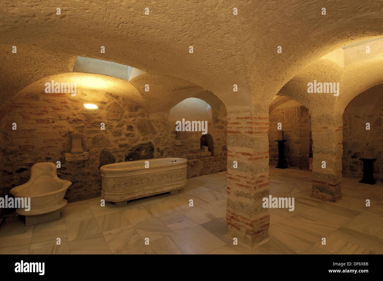 Original Roman bathtubs in the Roman baths. Baños de Montemayor, in ...