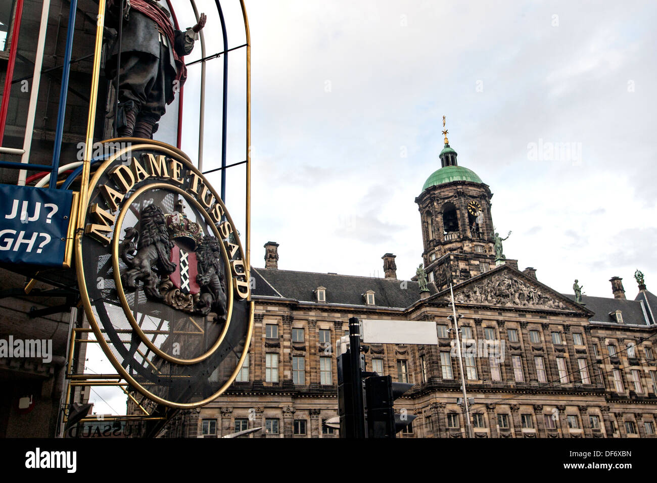 Madame Tussaud and the Royal Palace Dam Square in Amsterdam. - Stock Image