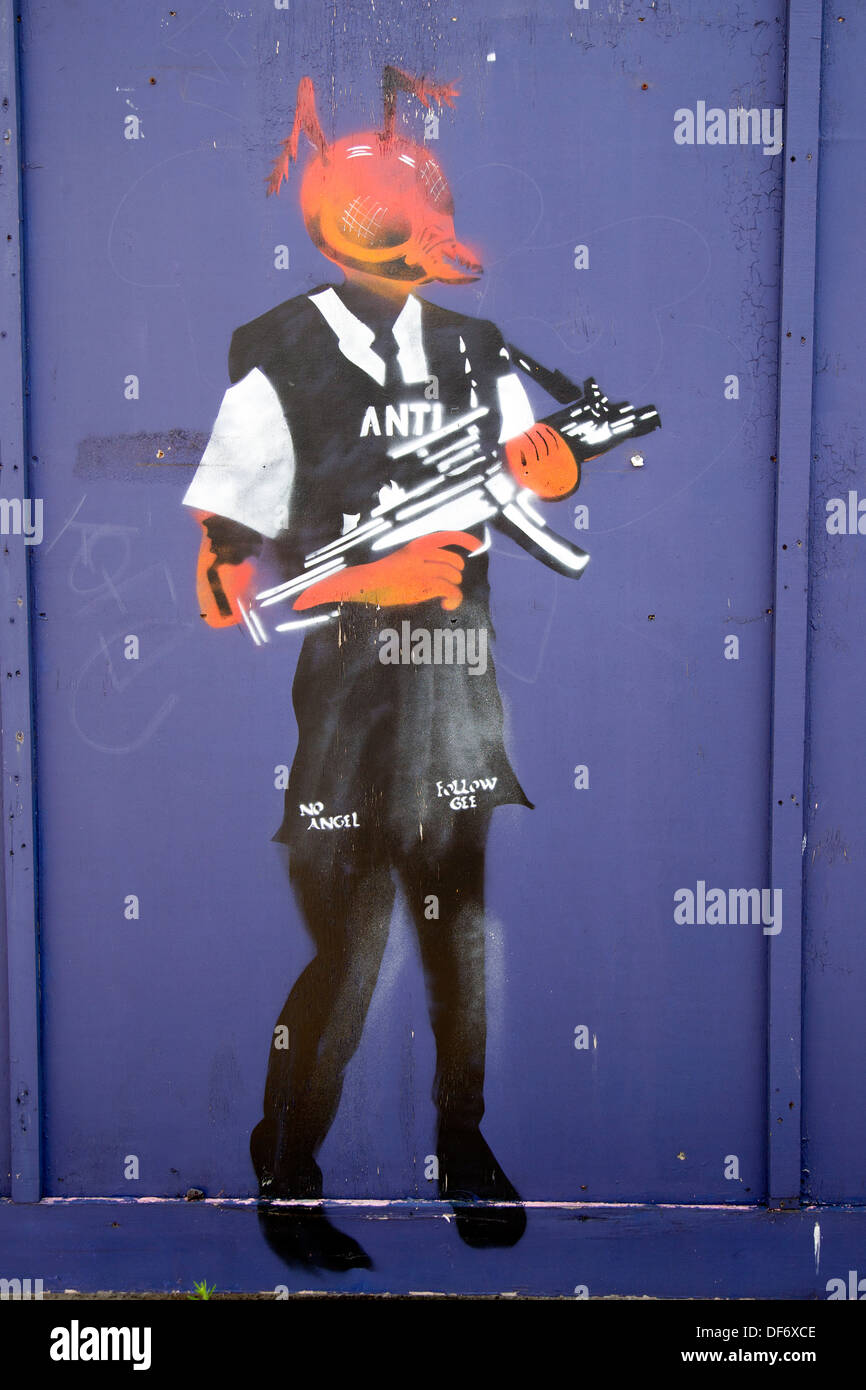 Street Art by Gee, Orchard Place, Tower Hamlets, London, England, UK. - Stock Image