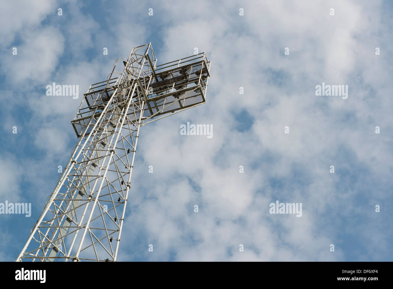 A traditional looking floodlight at the Glyndwr University Racecourse Stadium in Wrexham in North Wales, UK. - Stock Image