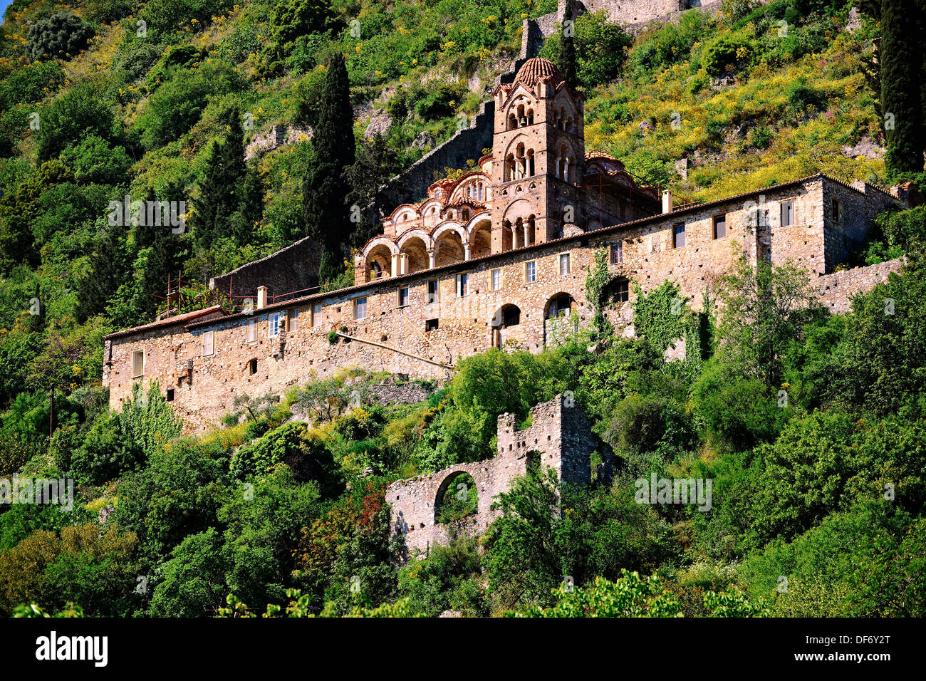 Exterior of the Byzantine Orthodox monastery of Pantanassa , Mystras , Sparta, the Peloponnese, Greece. A UNESCO World Heritage - Stock Image
