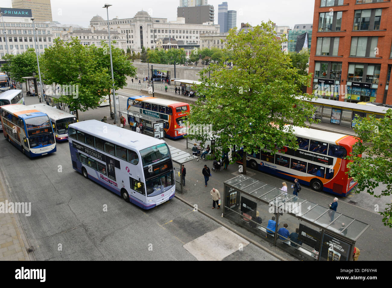 A high view of the Piccadilly Gardens bus station in central Manchester. - Stock Image