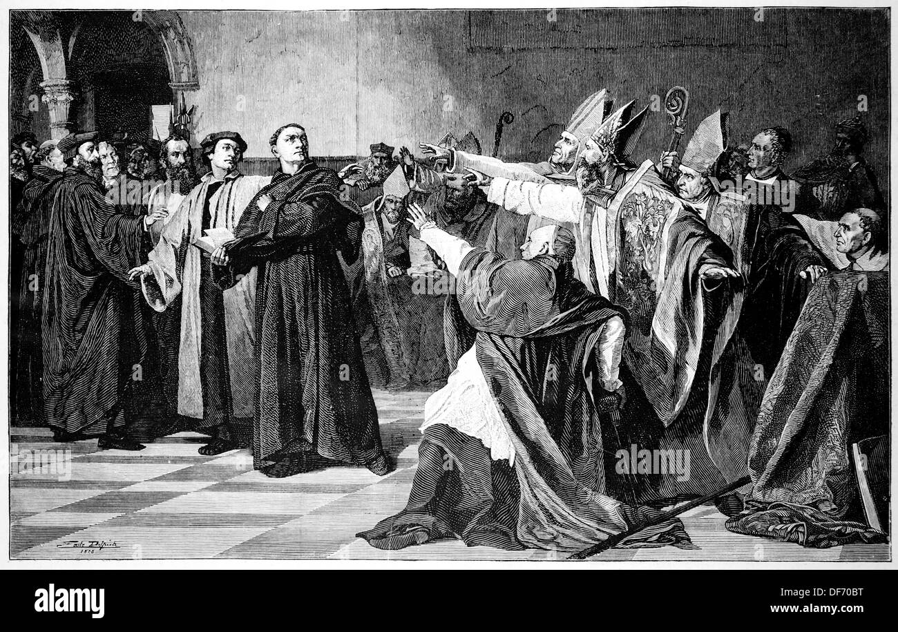 Martin Luther, (Eisleben, 1483, Eisleben, 1546). German reformer. Luther at the Diet of Worms. Engraving. - Stock Image