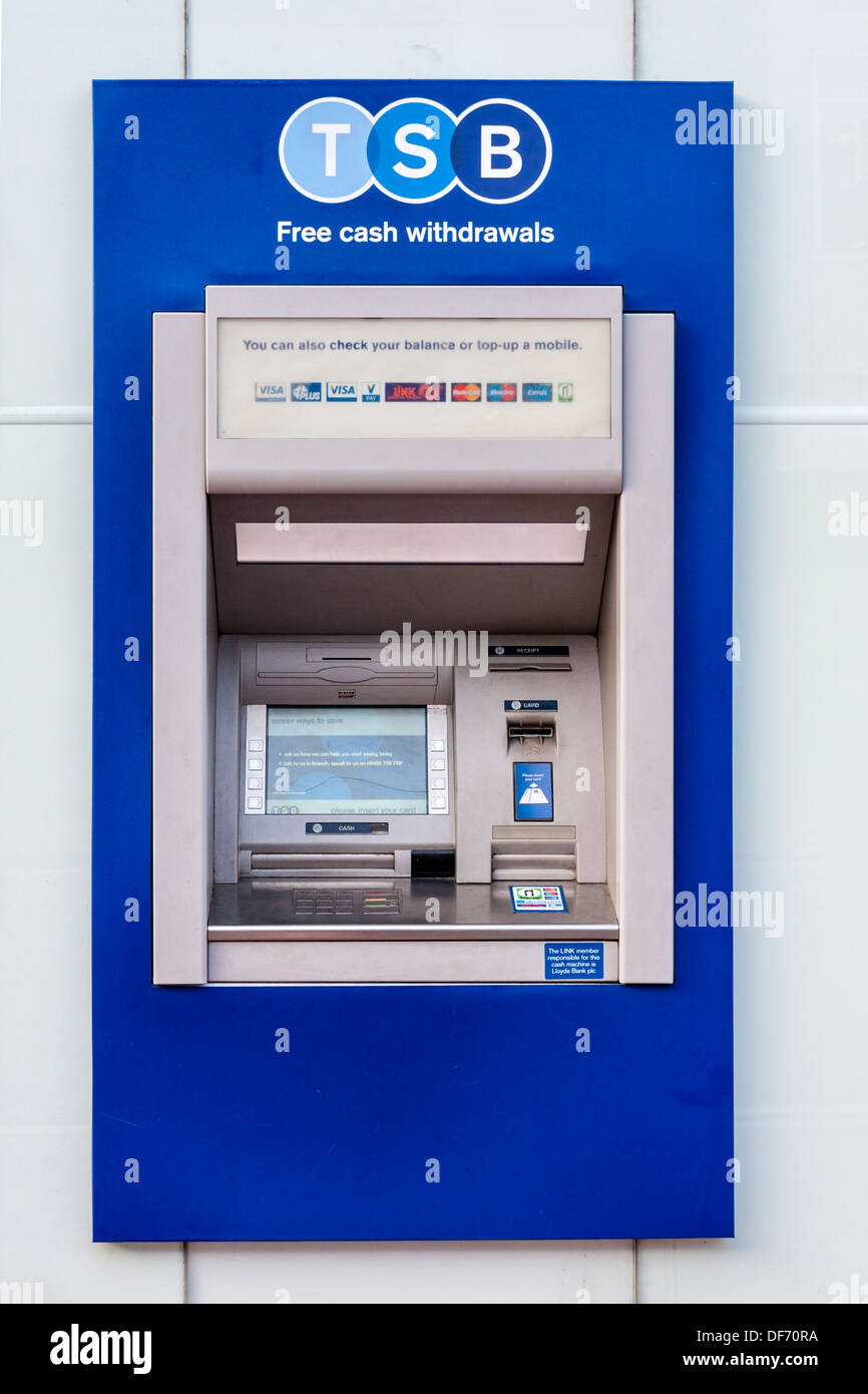 Automated teller machine on UK High Street, rebranded with new TSB bank logo. - Stock Image