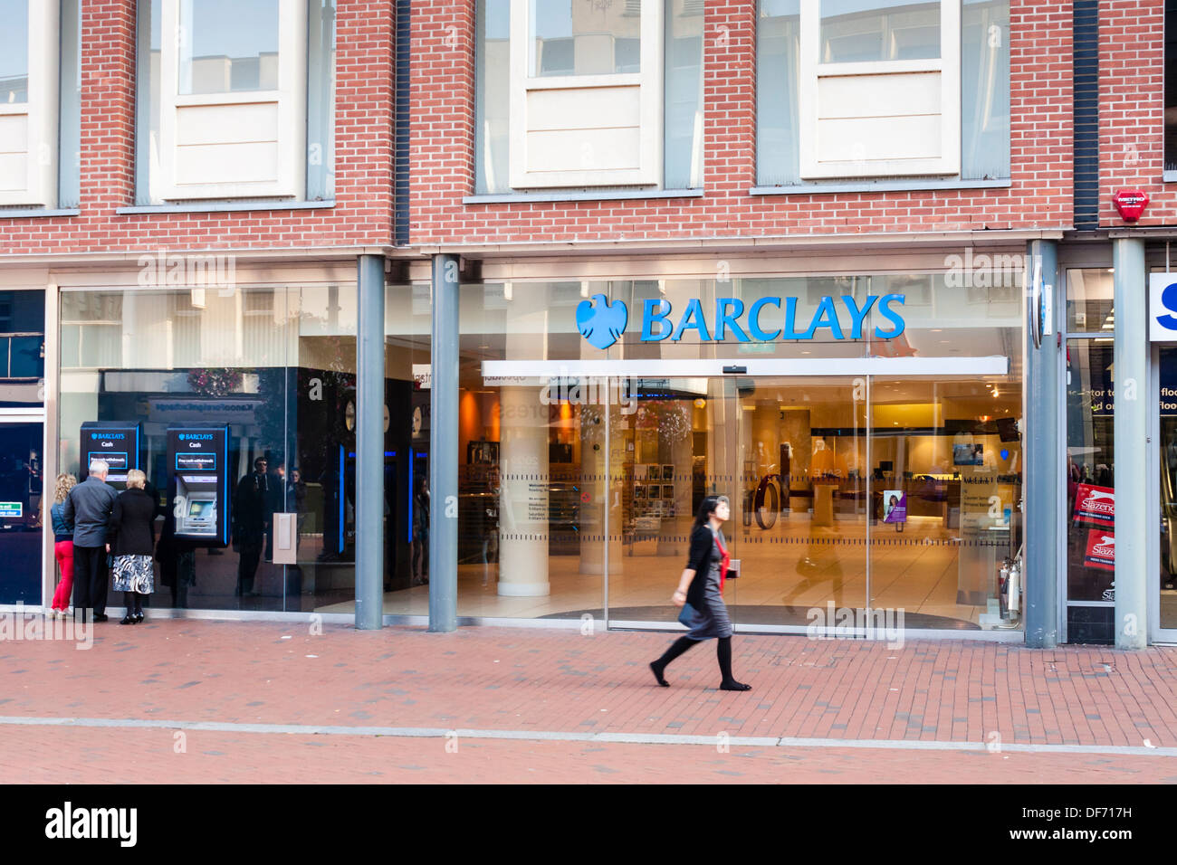UK high street bank, Barclays, in Reading, Berkshire, England, GB, UK - Stock Image