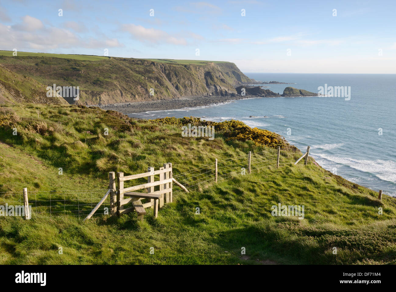 View from The Hermitage along the coastal footpath overlooking Welcombe Mouth Beach, North Devon, UK. Stock Photo