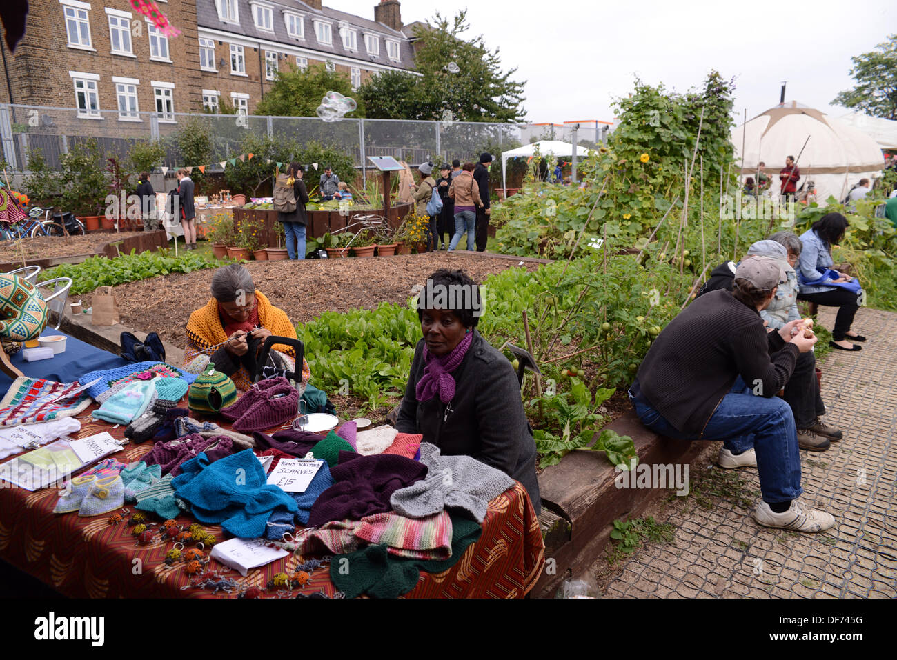 London, UK 29 Sept 2013 : Stall of hand make wooly hat at Spitalfields City Farm. © See Li/Alamy Live News - Stock Image