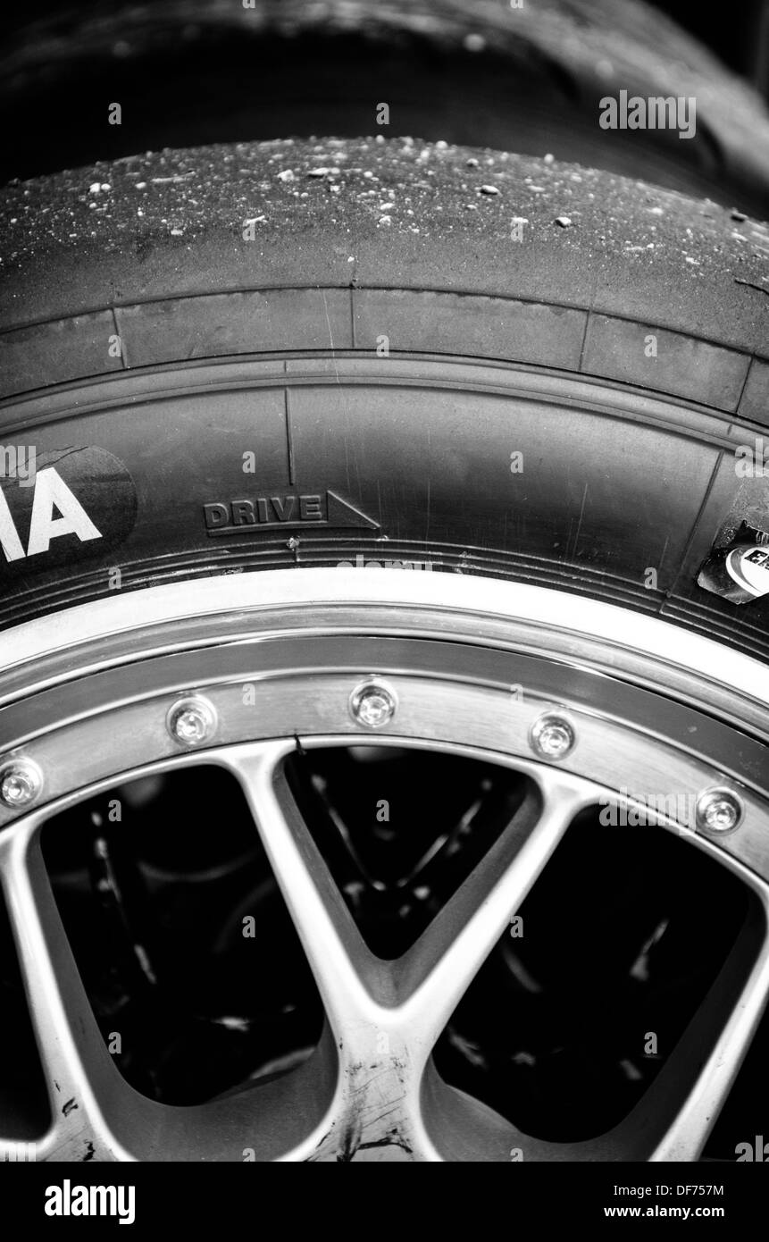 Racing Car Tires in the paddock at the Baltimore Grand Prix - Stock Image