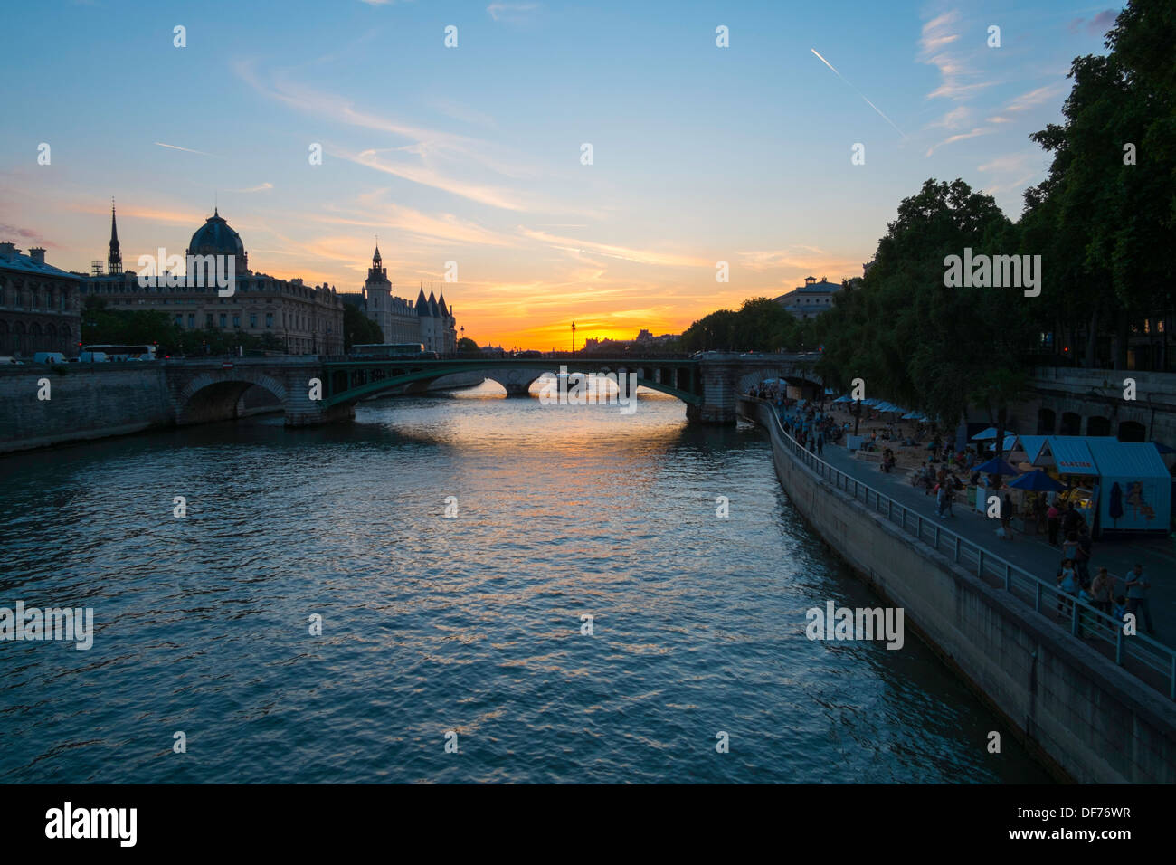Sunset over the Seine, Paris, France - Stock Image